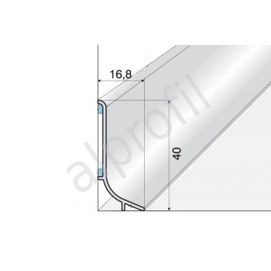 Плинтус алюминиевый Q63 (Серебро матовое)