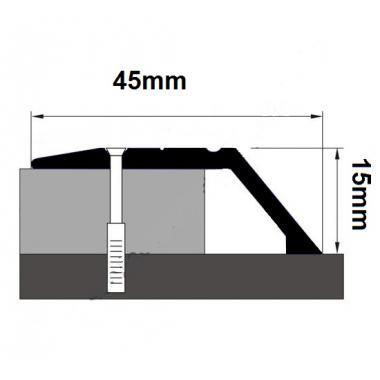 Порог алюминиевый с перепадом ПА-20 (Серебро матовое)