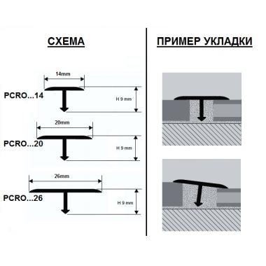 Профиль Т-образный Progress Profiles латунный PCROL 269 (Латунь сатинированная)