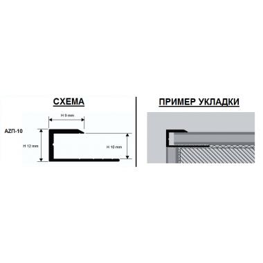 Профиль алюминиевый П-образный AZП-10 (Серебро матовое)