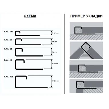 Профиль алюминиевый П-образный закладной Progress Profiles PJQBC 045 (Серебро глянцевое)