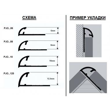 Профиль латунный наружный Progress Profiles PJOC 06 (Латунь хромированная)