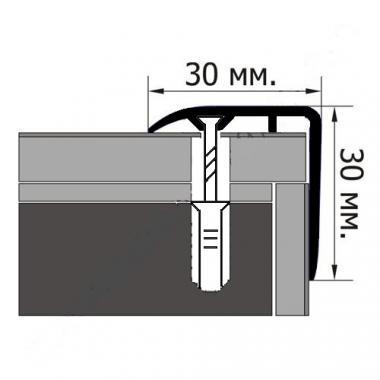 Порог ламинированный угловой М-30*30 (Вяз)