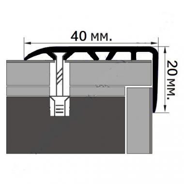 Порог ламинированный угловой М-40*20 (Дуб корейский)